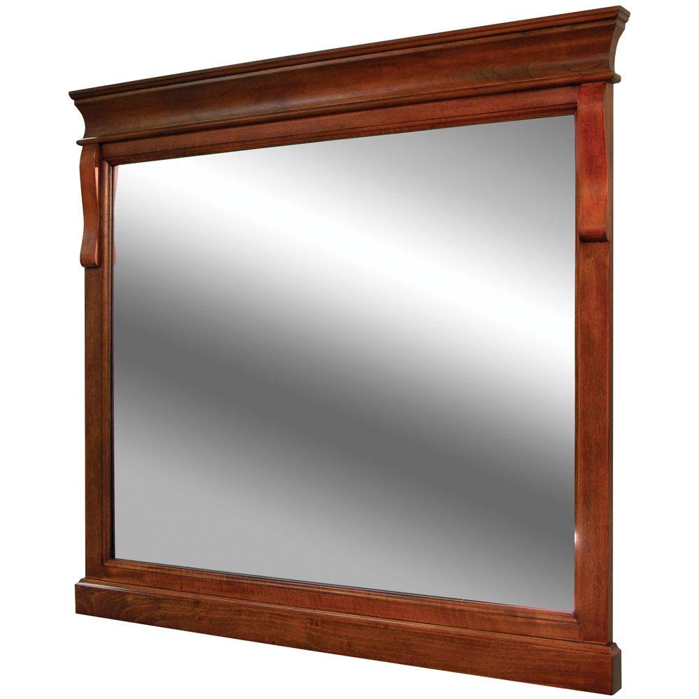 Foremost Naples 36 in. x 32 in. Wall Mirror in Warm Cinnamon