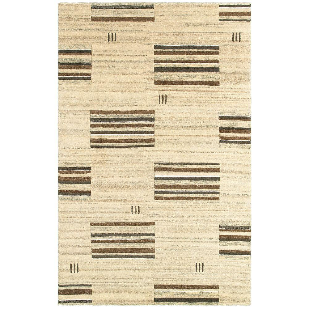 LR Resources Kasteli Beige 8 ft. x 10 ft. Hand-Knotted Luxurious Indoor Area Rug
