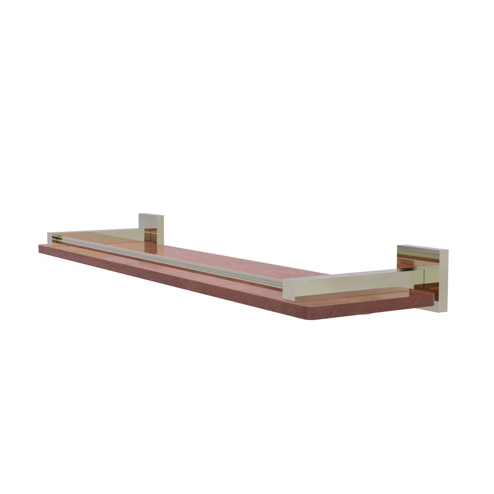 Allied Brass Montero Collection 22 in. Solid IPE Ironwood Shelf with Gallery Rail in Polished Nickel
