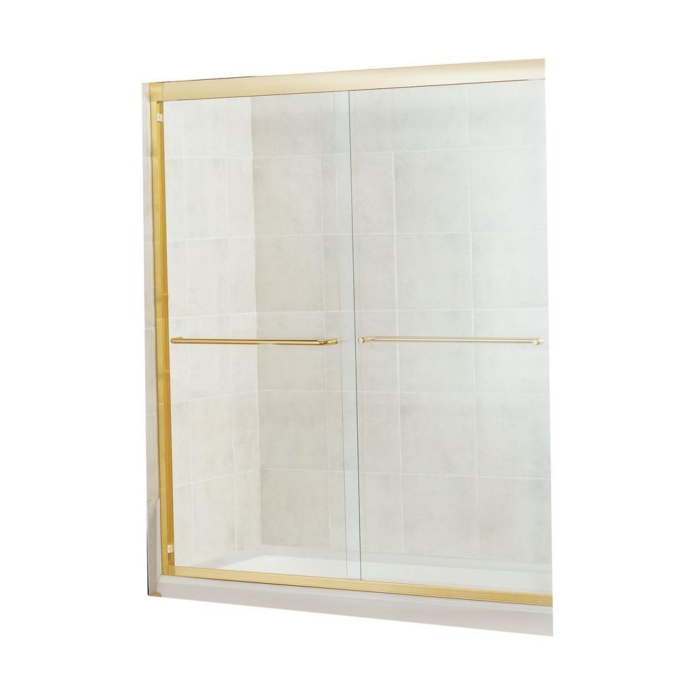MAAX Tonik 54 in. to 59-1/2 in. W Shower Door in Polished Brass with 6MM Clear Glass-DISCONTINUED