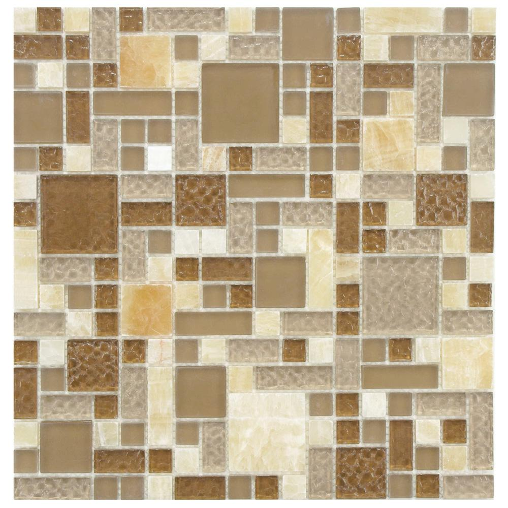 Merola Tile Tessera Versailles Amber 11-3/4 in. x 11-3/4 in. x 8 mm Glass and Stone Mosaic Tile