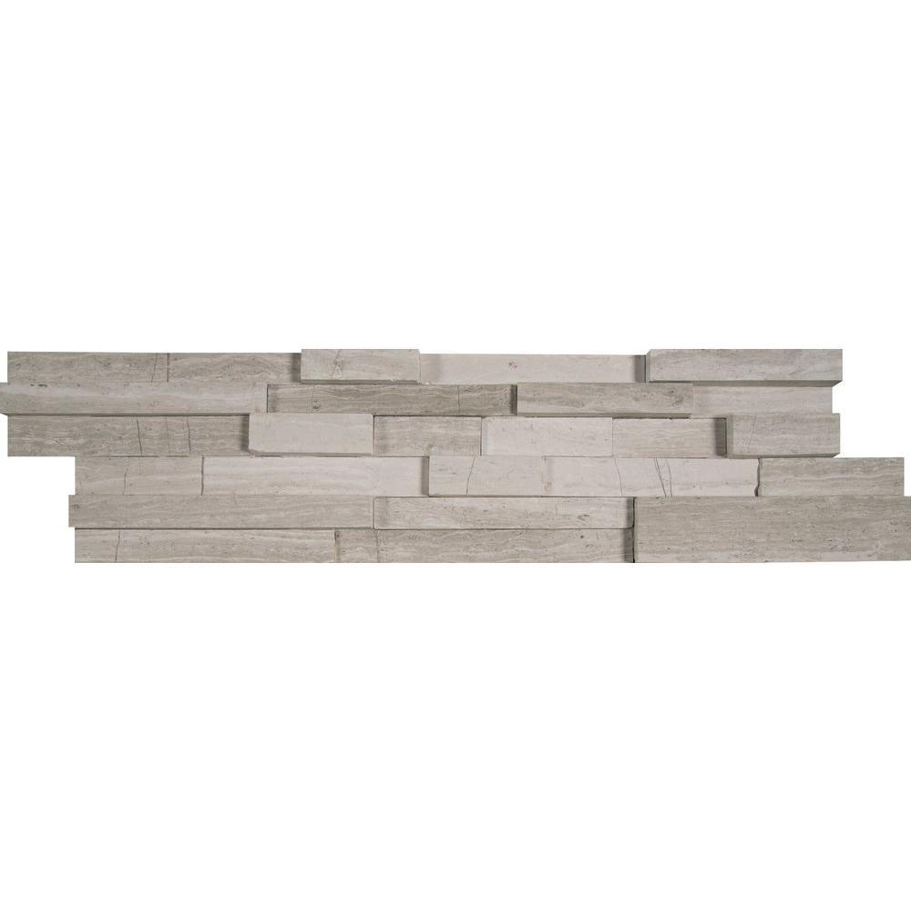 White Oak 3D Ledger Panel 6 in. x 24 in. Honed Marble Wall Tile (10 cases / 60 sq. ft. / pallet)