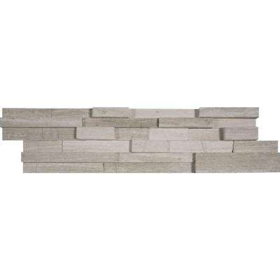 White Oak 3D Ledger Panel 6 in. x 24 in. Honed Marble Wall Tile (10 cases / 60 sq. ft. / pallet)