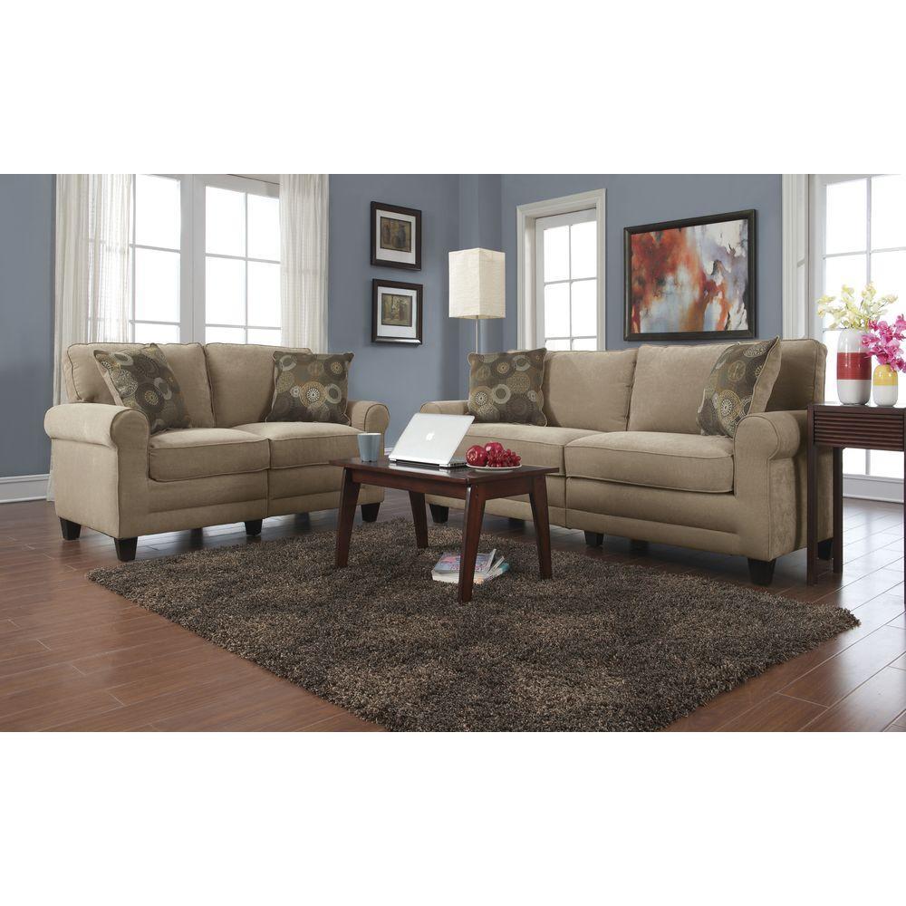 Rustic - Beige - Sofas & Loveseats - Living Room Furniture ...
