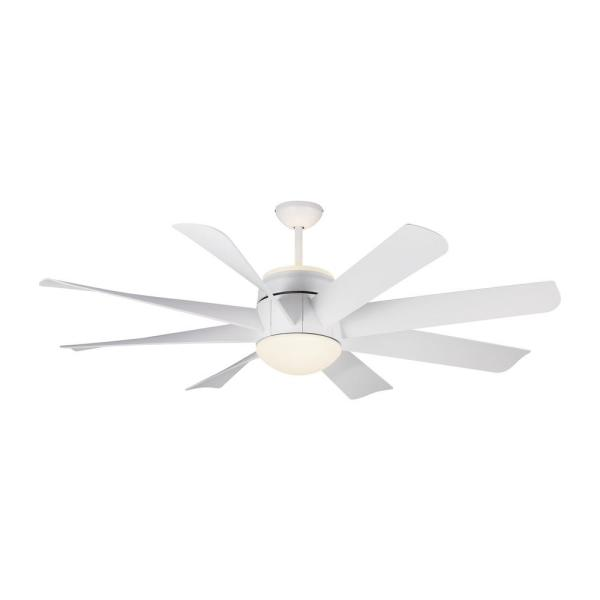 Turbine 56 in. Integrated LED Indoor/Outdoor Matte White Ceiling Fan with Light Kit and Remote Control