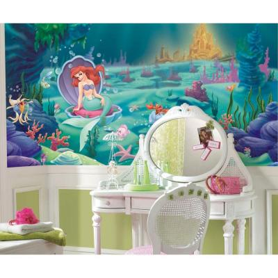Littlest Mermaid Chair Rail Prepasted Mural 6 ft. x 10. ft. Ultra-strippable Wall Applique US ONLY