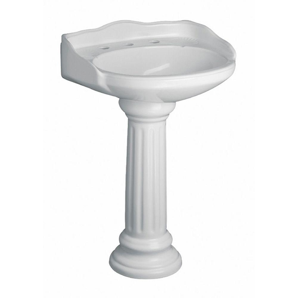 Pedestal Combo Bathroom Sink In White 3 654WH   The Home Depot