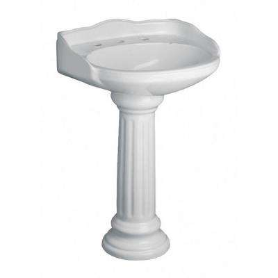 Vicki 22 in. Pedestal Combo Bathroom Sink in White