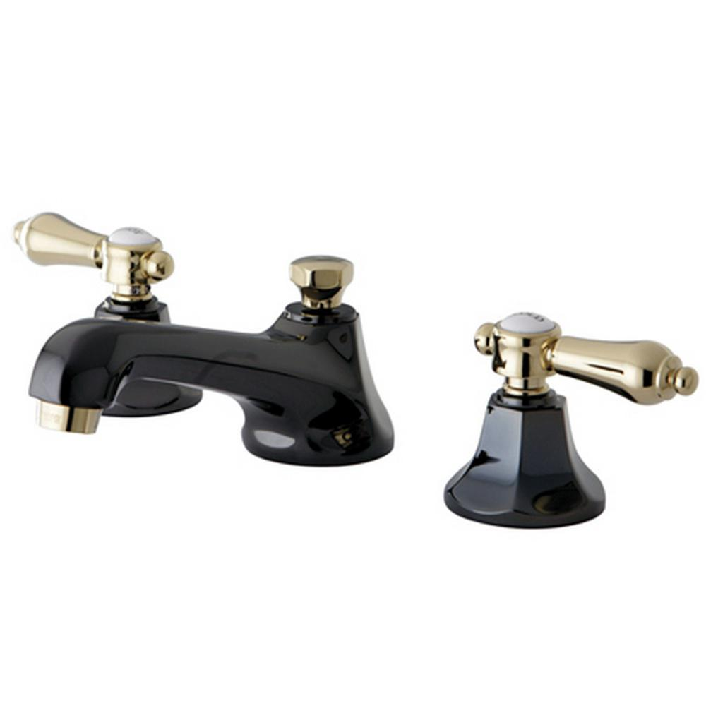 bathroom faucets with black handles kingston brass kate 8 in widespread 2 handle lever handles bathroom faucet in black and