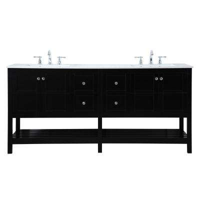 Timeless Home 72 in. W x 22 in. D x 34 in. H Double Bathroom Vanity in Black with White Quartz with White Basin