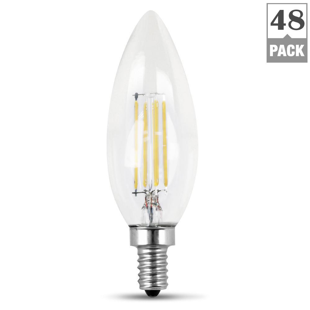 40-Watt Equivalent Daylight B10 Dimmable Clear Filament LED Candelabra Base Light Bulb (Case of 48)