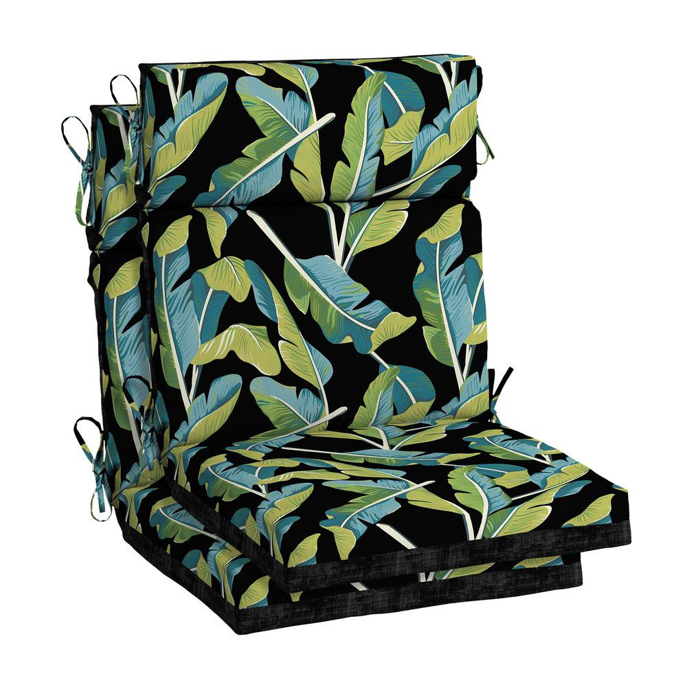 Stupendous Hampton Bay Banana Leaf Tropical Outdoor High Back Dining Chair Cushion 2 Pack Download Free Architecture Designs Ogrambritishbridgeorg