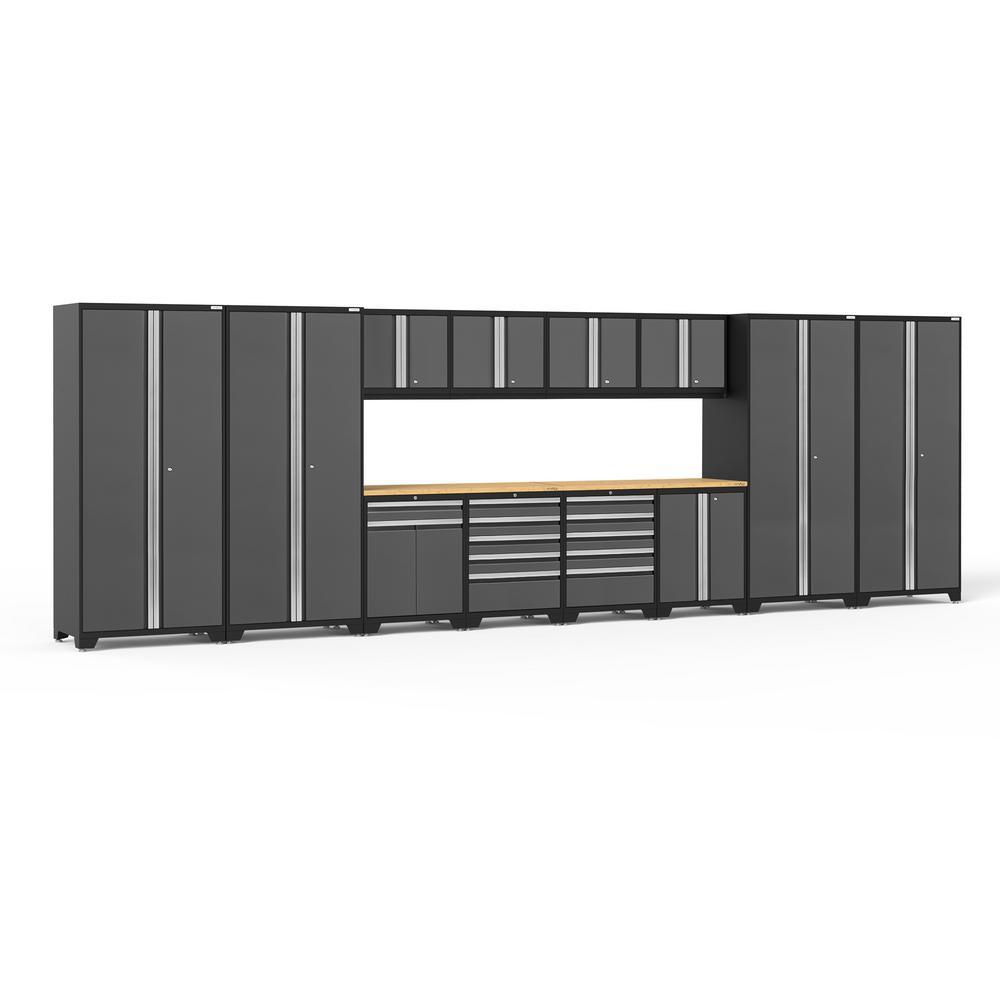 Pro 3.0 85.25 in. H x 256 in. W x 24 in. D 18-Gauge Welded Steel Garage Cabinet Set in Gray (14-Piece)