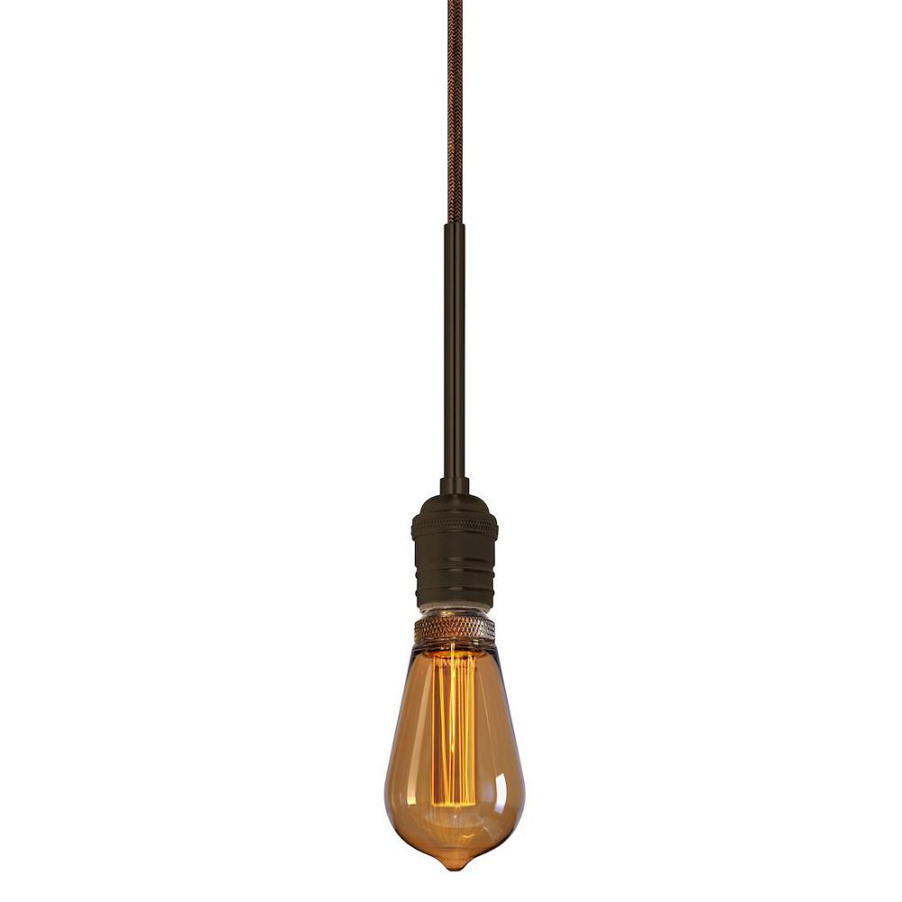 Stone Lighting Retro II 1-Light Bronze Pendant with 96 in. Brown Cord
