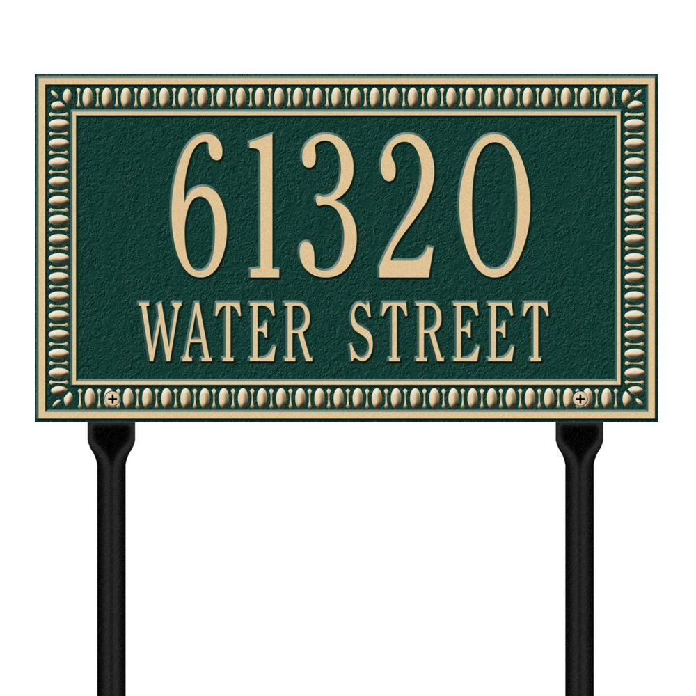 Egg and Dart Rectangular Green/Gold Standard Lawn Two Line Address Plaque