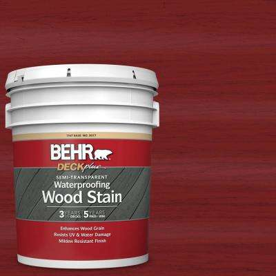 5 gal. #ST-112 Barn Red Semi-Transparent Waterproofing Exterior Wood Stain