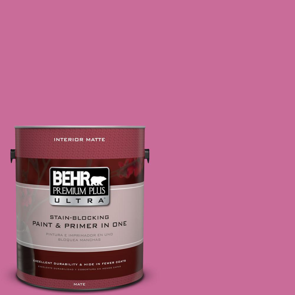 BEHR Premium Plus Ultra 1 gal. #100B-6 Fuchsia Kiss Flat/Matte Interior Paint
