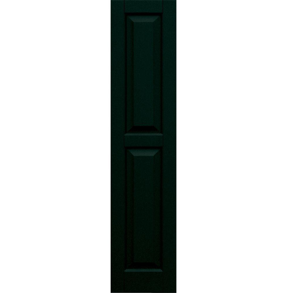 Winworks Wood Composite 12 in. x 54 in. Raised Panel Shutters Pair #654 Rookwood Shutter Green