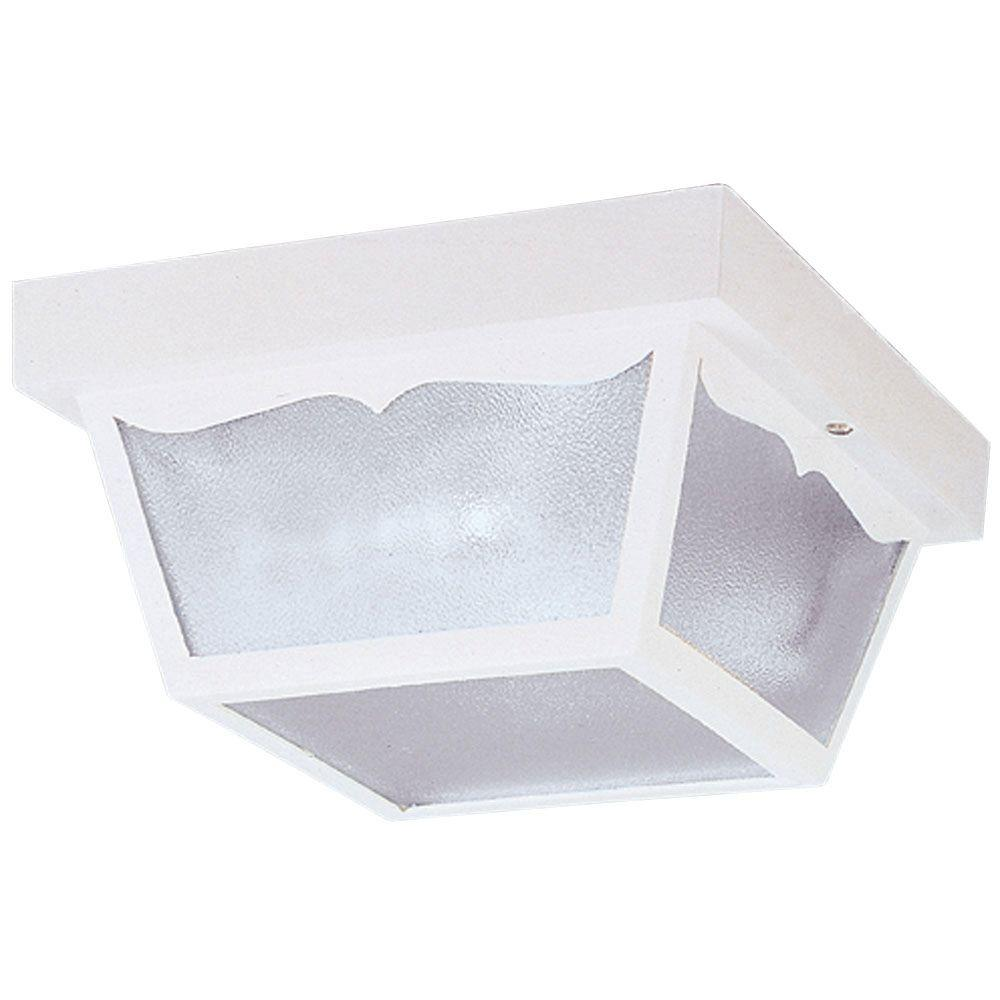 Westinghouse 2-Light White on Hi-Impact Polypropylene Flush-Mount Exterior Fixture with Clear Textured Glass Panels