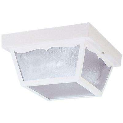 2-Light White on Hi-Impact Polypropylene Flush-Mount Exterior Fixture with Clear Textured Glass Panels