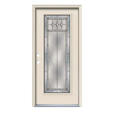 36 in. x 80 in. Full Lite Mission Prairie Primed Steel Prehung Right-Hand Inswing Front Door w/Brickmould
