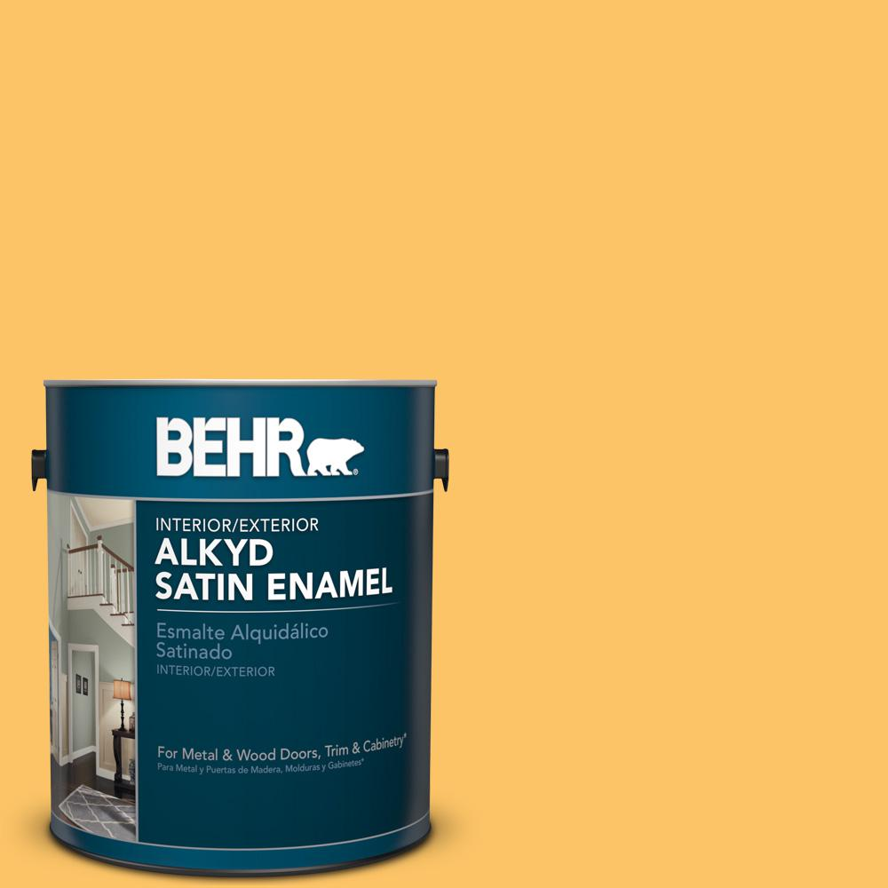 1 gal. #PPU6-6 Honey Locust Satin Enamel Alkyd Interior/Exterior Paint