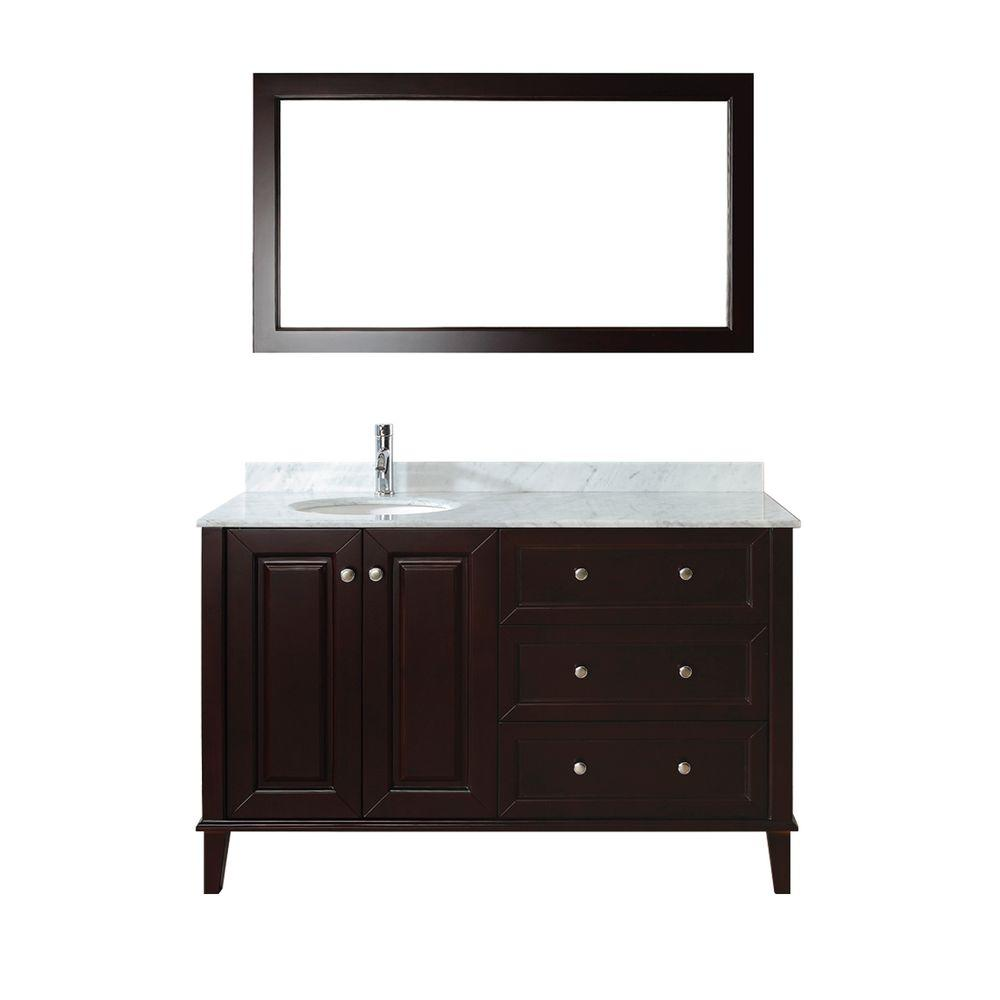 ART BATHE Lily 55 in. Vanity in Chai with Marble Vanity Top in Chai and Mirror