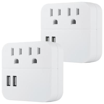 2-Outlet 2 USB Surge Protector Wall Tap Adapter (2-Pack)