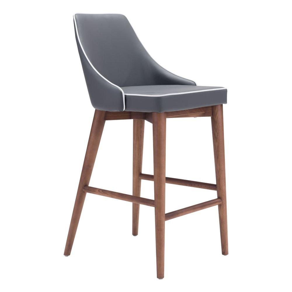 ZUO Moor 26 in. Dark Gray Cushioned Bar Stool  sc 1 st  The Home Depot : 26 bar stools wood - islam-shia.org