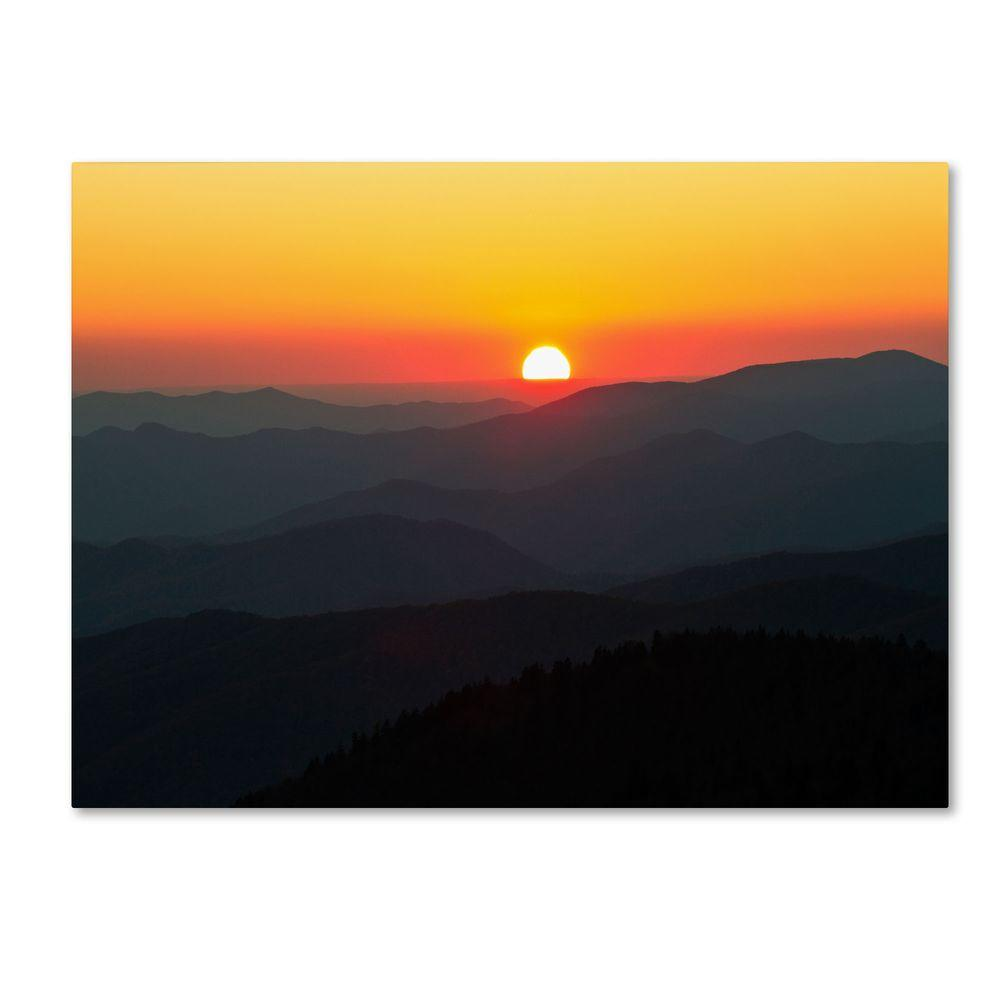 Trademark Fine Art 16 in. x 24 in. Great Smoky Mountains Sunset Canvas Art