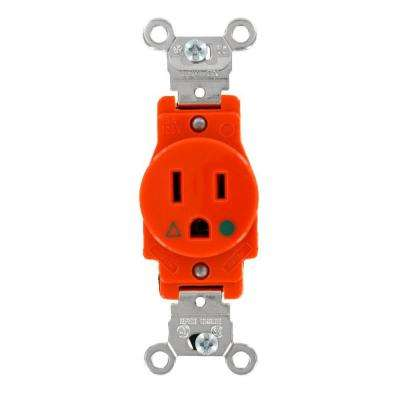 15 Amp Industrial Grade Heavy Duty Isolated Ground Single Outlet, Orange