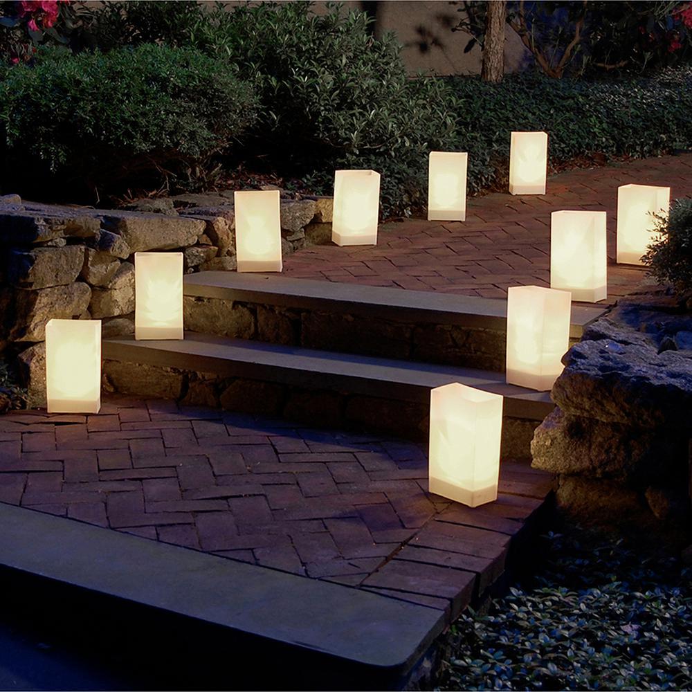 Lumabase-Plastic Luminaria Lanterns in White (Set of 10)