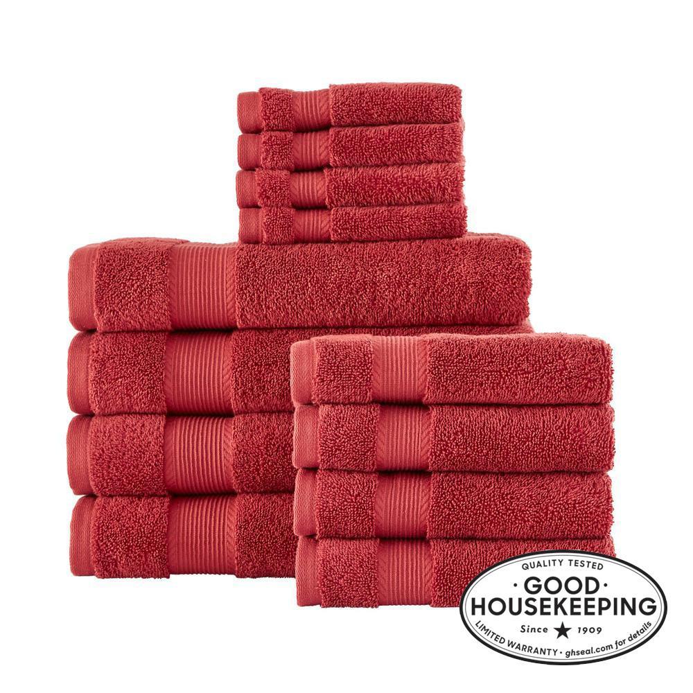 12-Piece Hygrocotton Towel Set in Chili