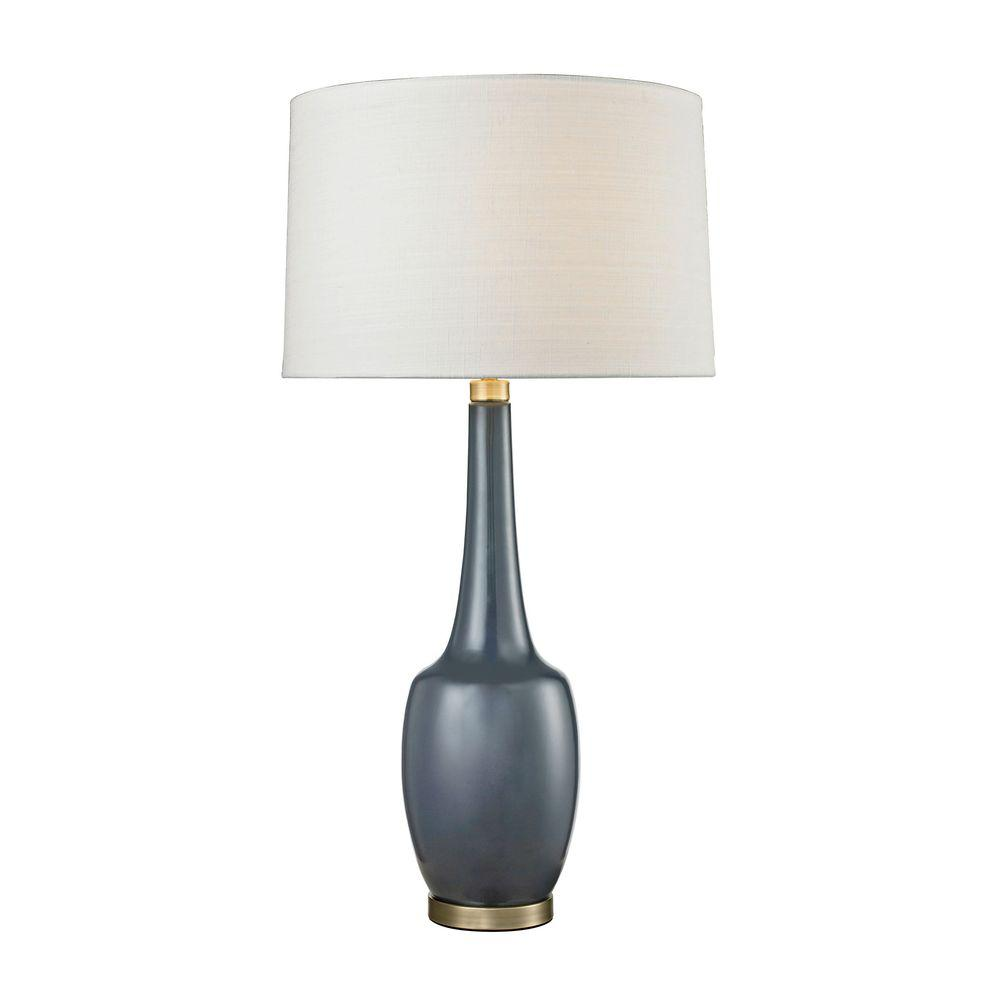 Titan Lighting Modern Vase 36 In Navy Blue Ceramic Table Lamp Tn