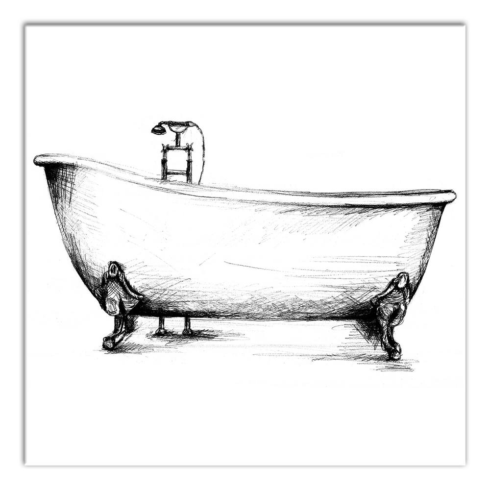 "DESIGNS DIRECT 12 In. X 12 In. ""Vintage Bathtub Sketch"