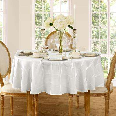 90 in. Round White Elrene Elegance Plaid Damask Fabric Tablecloth