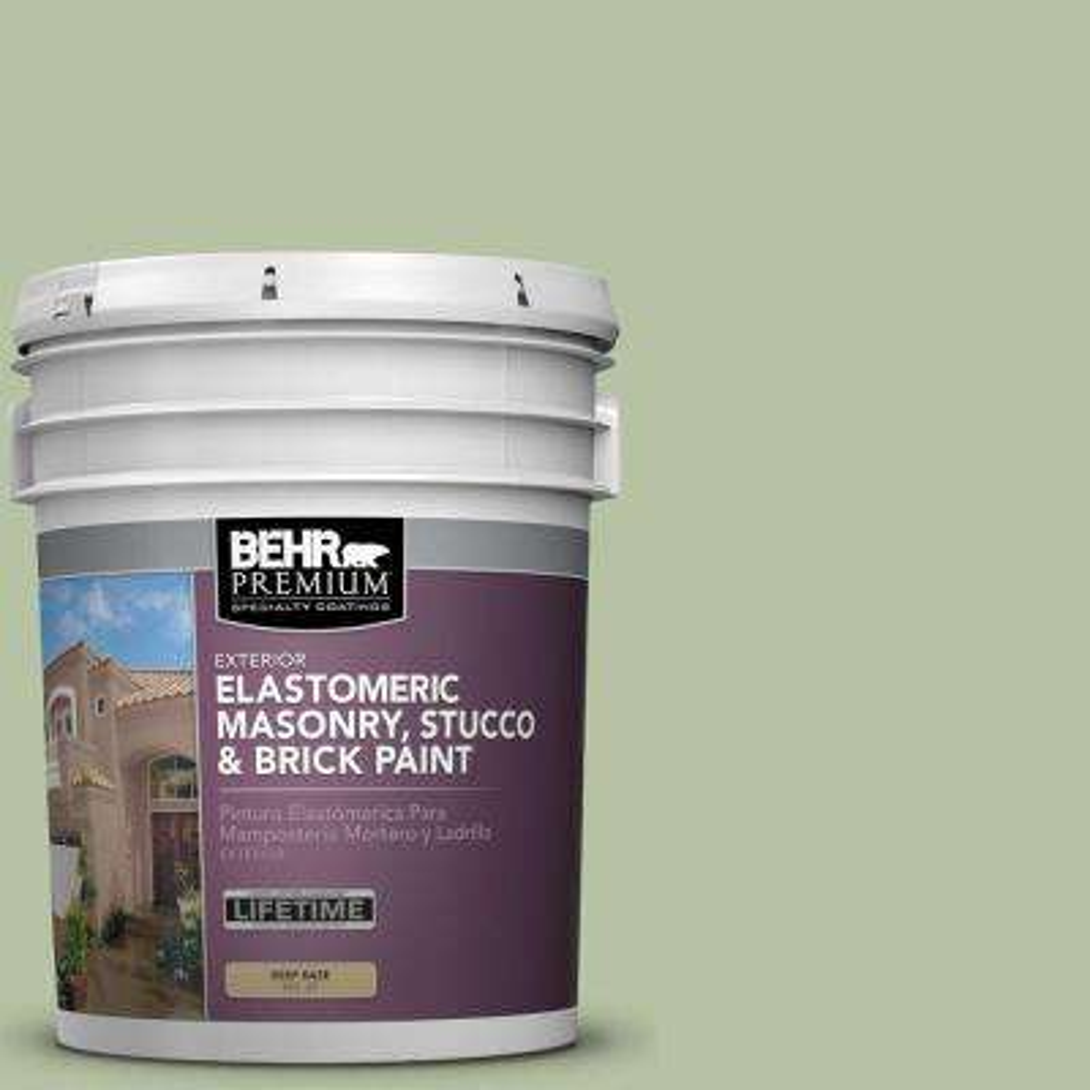 5 gal. #MS-57 Soft Green Elastomeric Masonry, Stucco and Brick Exterior Paint