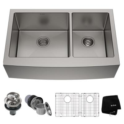 Standard PRO 16-Gauge Stainless Steel 36 in. Double Bowl Farmhouse Apron Kitchen Sink