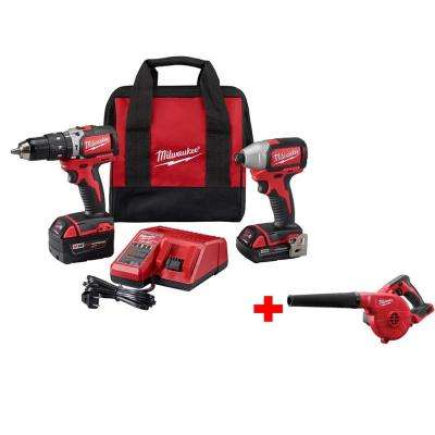 M18 18-Volt Lithium-Ion Brushless Cordless Compact Hammer Drill/Impact Combo Kit w/ Free M18 Compact Blower
