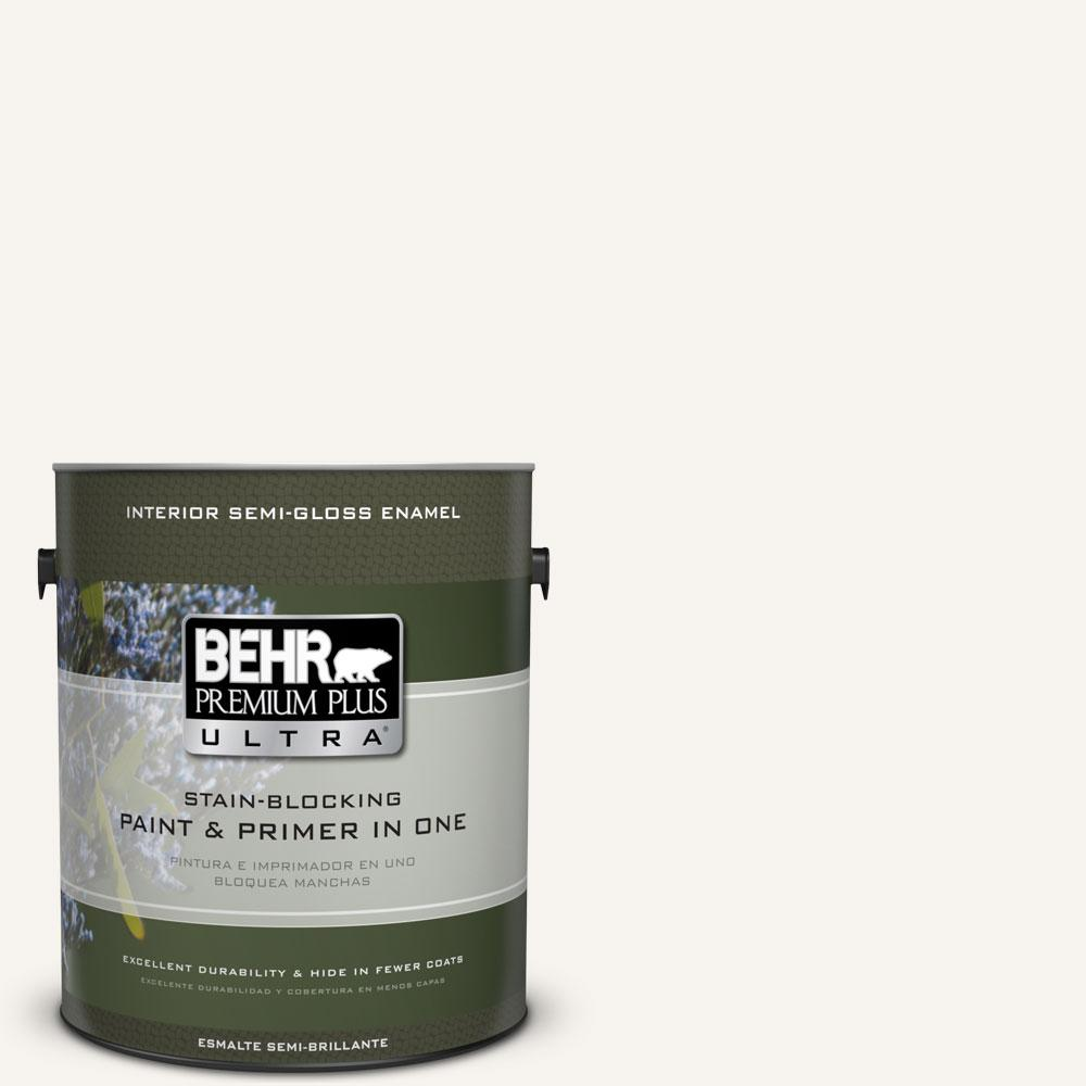 BEHR Premium Plus Ultra Home Decorators Collection 1 gal. #HDC-MD-08 Whisper White Semi-Gloss Enamel Interior Paint and Primer in One