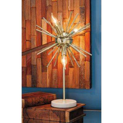 21 in. Modern Gold Metal Lamp with Marble Accents