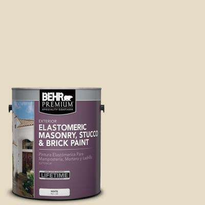 1 gal. #MS-40 Navajo White Elastomeric Masonry, Stucco and Brick Exterior Paint