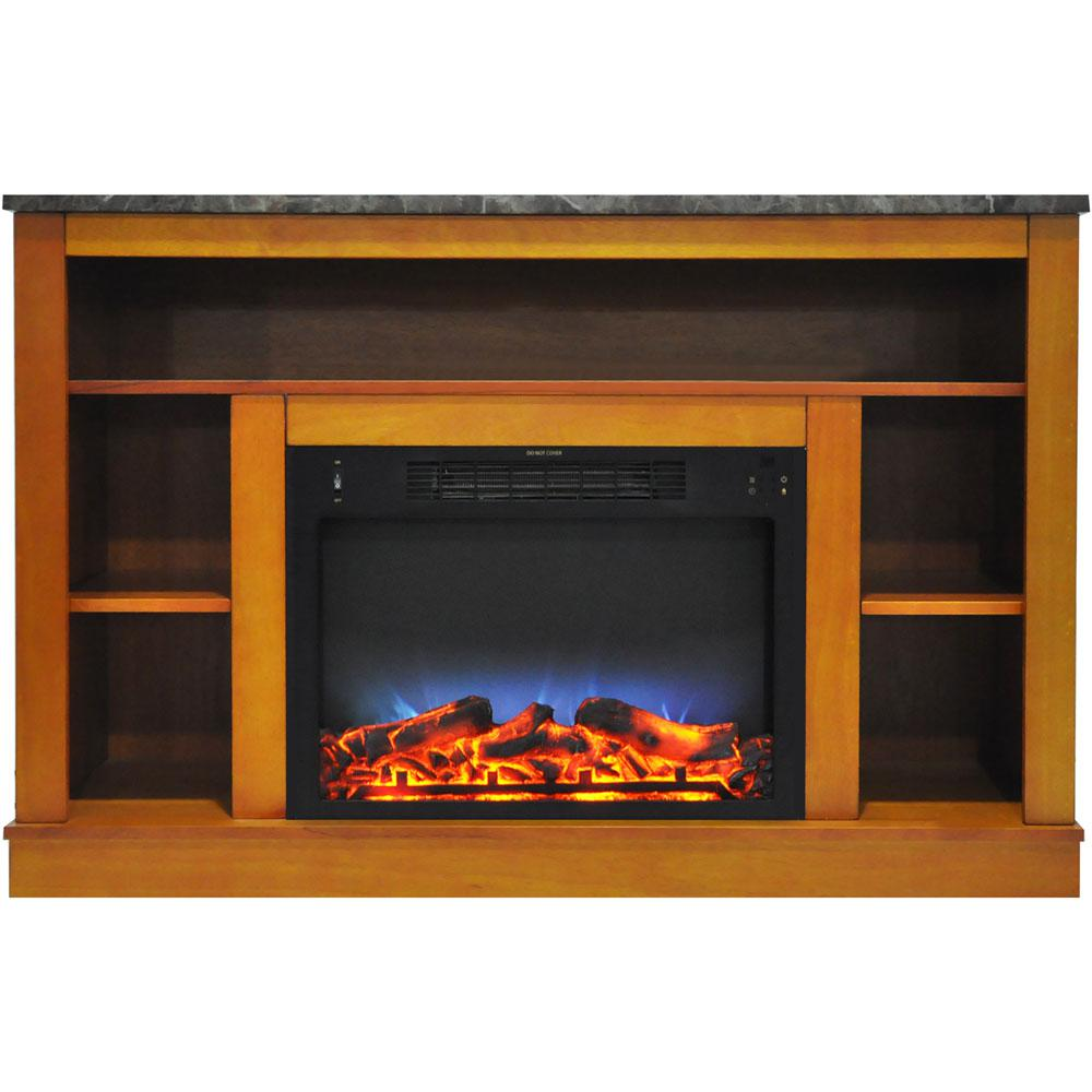 47 in. Electric Fireplace with a Multi-Color LED Insert and Teak