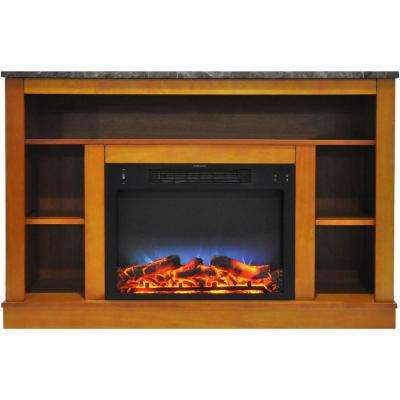 47 in. Electric Fireplace with a Multi-Color LED Insert and Teak Mantel