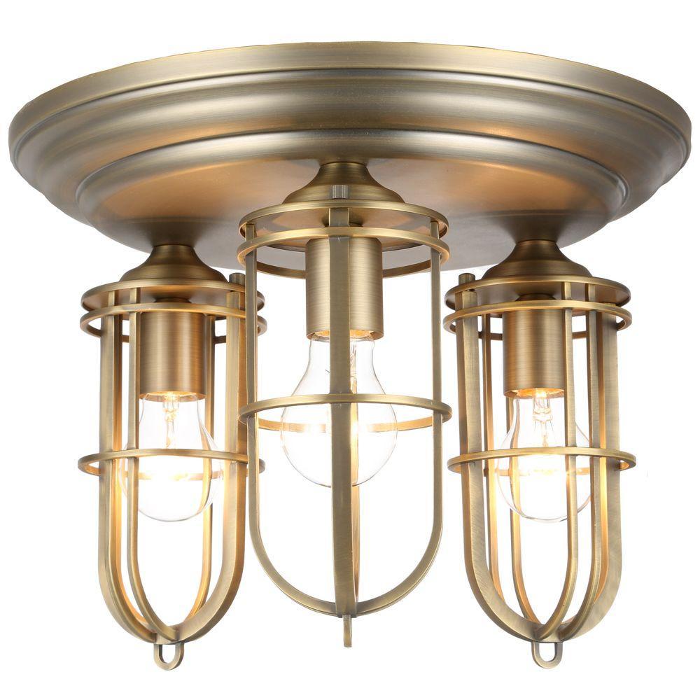 Urban Renewal 3-Light Dark Antique Brass Flush Mount
