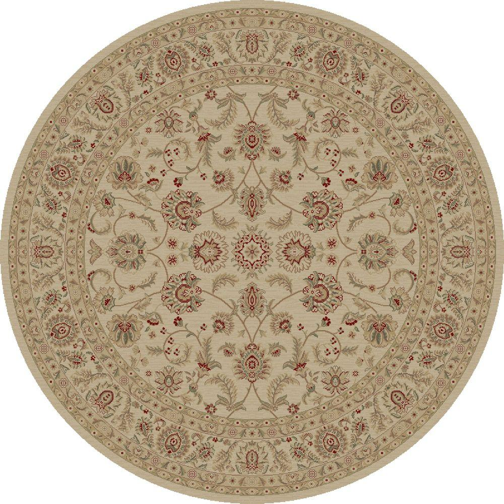 Concord Global Trading Imperial Bergama Ivory 5 ft. 3 in. Round Area Rug