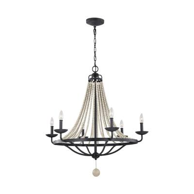 Nori 6-Light Dark Weathered Zinc Chandelier