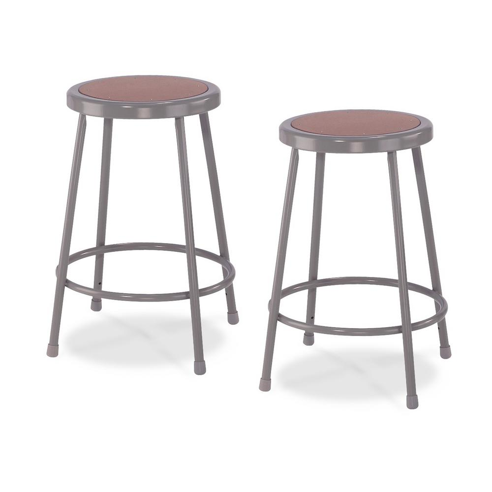 National Public Seating 24 in. Grey Heavy-Duty Steel Stool (2-Pack)