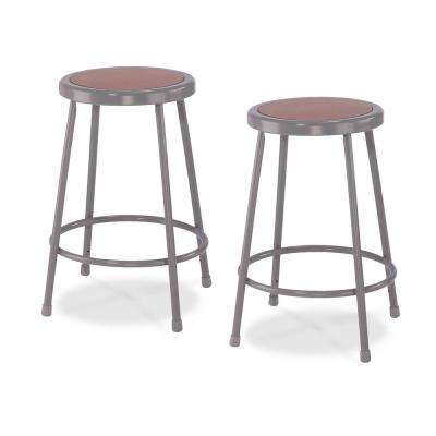 24 in. Grey Heavy-Duty Steel Stool (2-Pack)