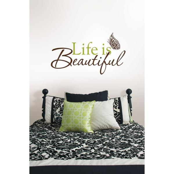 3 5 in  x 2 in  Life Is Beautiful Quote Wall Decal